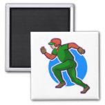 Runner Baseball Square Magnet