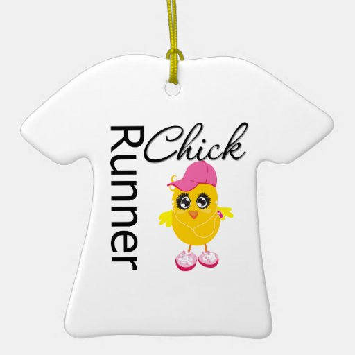 Runner Chick Double-Sided T-Shirt Ceramic Christmas Ornament