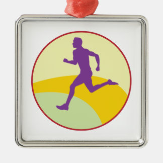 Runner Circle Silver-Colored Square Decoration