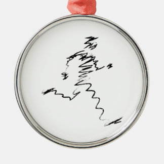 Runner cool illustration Silver-Colored round decoration