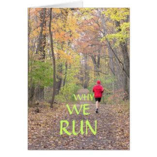 RUNNER IN RED JACKET/PATH THROUGH WOODS/FALL COLOR GREETING CARD