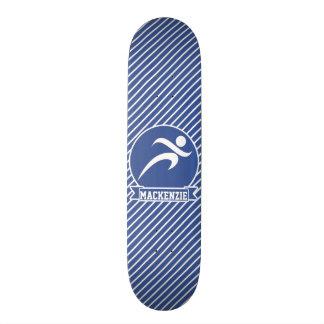 Runner, Running, Blue & White Stripes, Sports Skate Board Deck