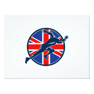 Runner Sprinter Start British Flag Circle 17 Cm X 22 Cm Invitation Card