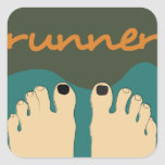 Runner Toes Square Sticker