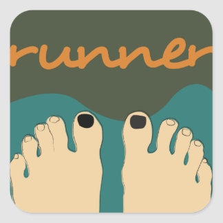 Runner Toes Square Stickers