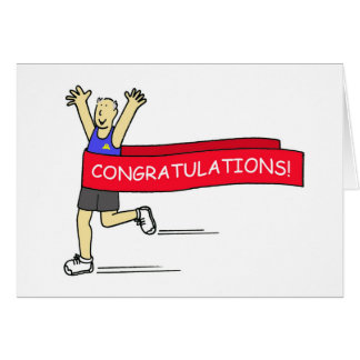 Runner with Congratulations banner. Greeting Card