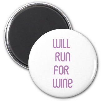 RunnerChick Wine 6 Cm Round Magnet