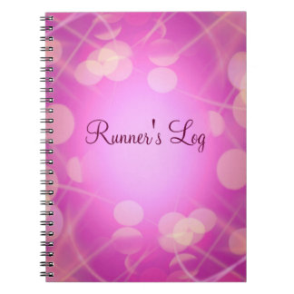 Runner's Log Pink Sparkly Running Spiral Journal