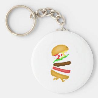 Runnin burger basic round button key ring