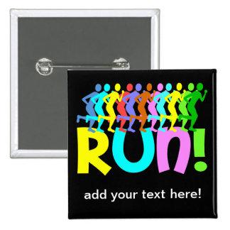 running 15 cm square badge