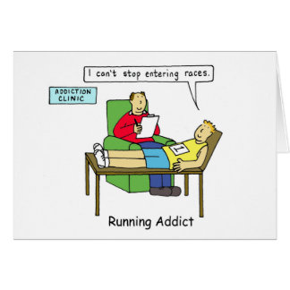 Running addiction, man in therapy. greeting card