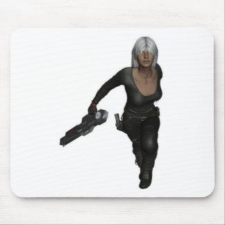 Running Armed Futuristic Woman Mousepad