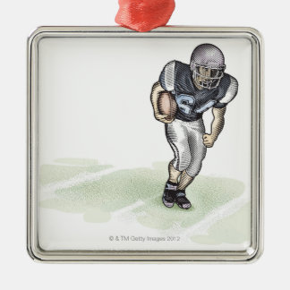 Running Back scratchboard illustration Christmas Ornament