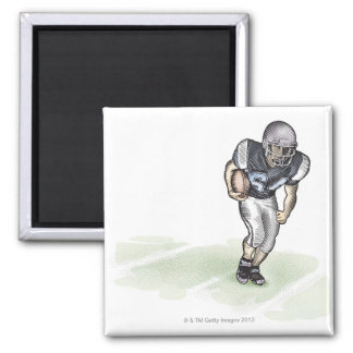 Running Back scratchboard illustration Magnet