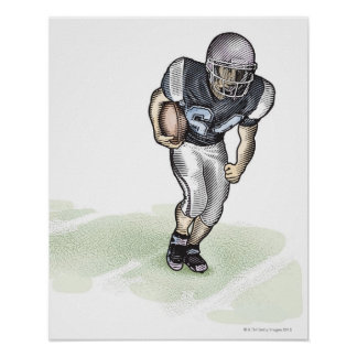 Running Back scratchboard illustration Poster