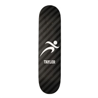 Running; Black & Dark Gray Stripes 21.6 Cm Old School Skateboard Deck
