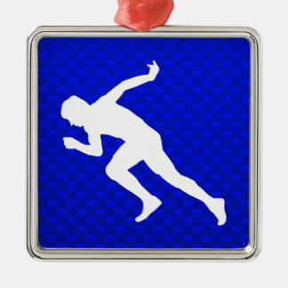 Running; Blue Christmas Ornament