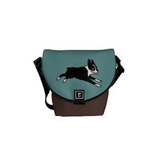 Running Boston Terrier Messenger Bags