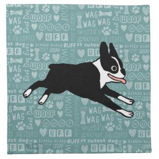 Running Boston Terrier Napkin