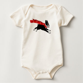 Running Boston Terrier Wearing Red Winter Scarf Baby Bodysuit