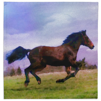 Running Brown Horse Pony Foal Western Equestrian Napkin
