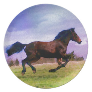 Running Brown Horse Pony Foal Western Equestrian Plate