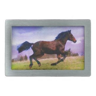 Running Brown Horse Pony Foal Western Equestrian Rectangular Belt Buckles