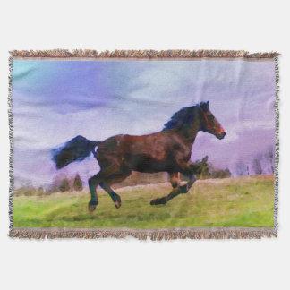 Running Brown Horse Pony Foal Western Equestrian Throw Blanket