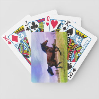 Running Brown Horse Pony Foal Western Watercolor Bicycle Playing Cards