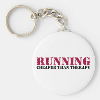Running - Cheaper than therapy Basic Round Button Key Ring