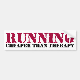 Running - Cheaper than therapy Bumper Sticker