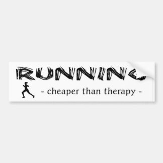 Running: Cheaper Than Therapy - Female Runner Bumper Sticker