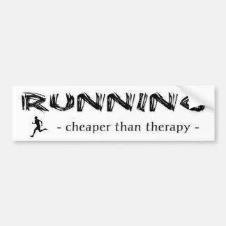 Running: Cheaper Than Therapy - Male Runner Bumper Sticker