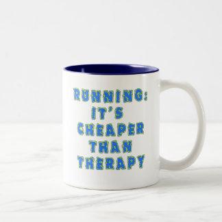 RUNNING:  CHEAPER THAN THERAPY Tshirts Two-Tone Mug