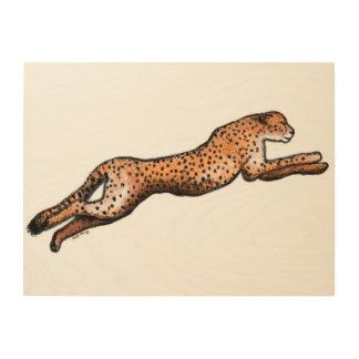 Running Cheetah Art Wood Panel