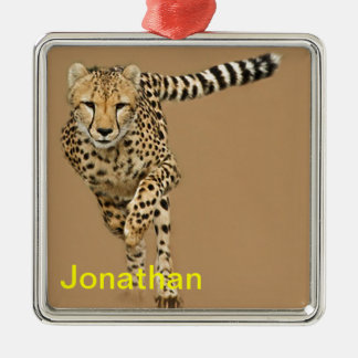 Running Cheetah Silver-Colored Square Decoration
