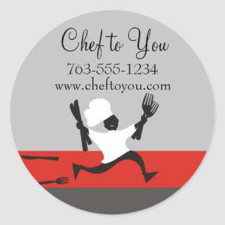 Running chef fork knives gift tag labels round sticker