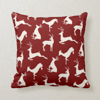 Running Deer and Buck Pattern in Red Cushion