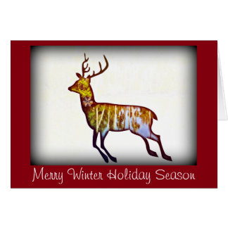 Running Deer on white Christmas/New Year greeting Card