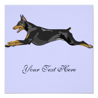 Running Doberman, Black 13 Cm X 13 Cm Square Invitation Card