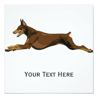 Running Doberman, Red 13 Cm X 13 Cm Square Invitation Card