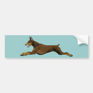 Running Doberman, Red Bumper Sticker