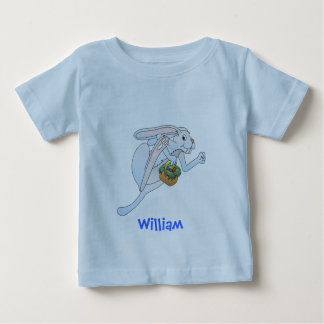 Running Easter Bunny and basket of eggs Baby T-Shirt