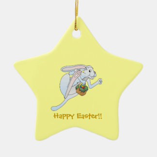 Running Easter Bunny and basket of eggs Christmas Ornament