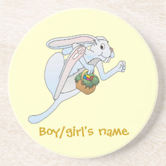 Running Easter Bunny and basket of eggs Beverage Coaster