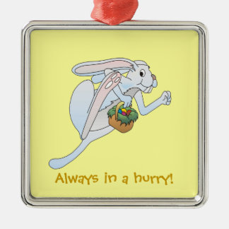 Running Easter Bunny and basket of eggs Silver-Colored Square Decoration