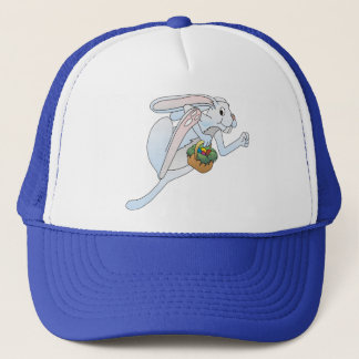 Running Easter Bunny and basket of eggs Trucker Hat