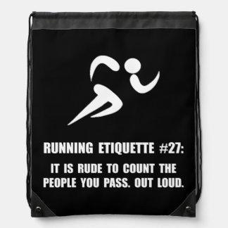 Running Etiquette Drawstring Bag