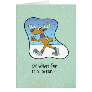 Running Exercise Reindeer Christmas Card