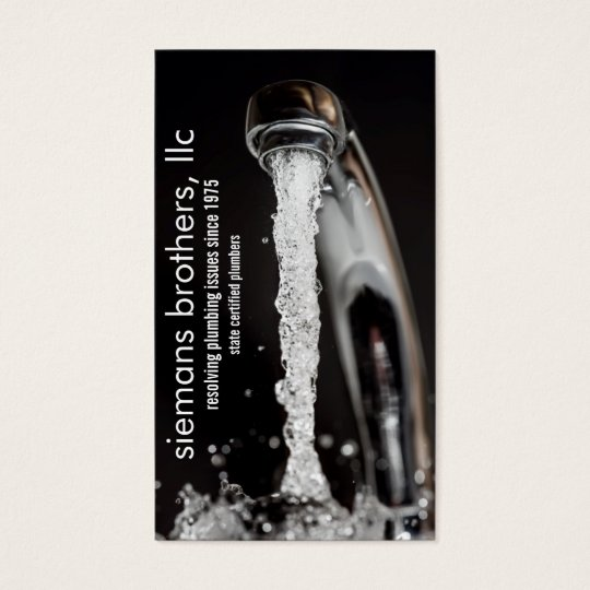 running faucet plumbing business card